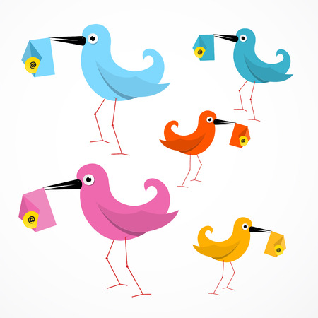 Vector Colorful Paper Birds Illustration with Email Envelope Vector