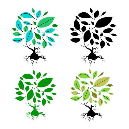 twirled: Abstract Illustrazione Vector Tree Set