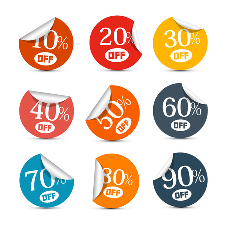 Colorful Vector Discount Stickers, Labels Illustration Set Vector