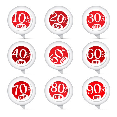 Red Vector Discount Stickers, Labels Illustration Set Vector