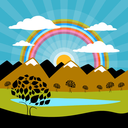 Landscape Nature Paper Mountains and Lake Illustration Vector