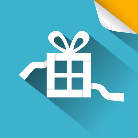present box: Paper Vector Gift - Present Box Blue Illustration with Bent Corner