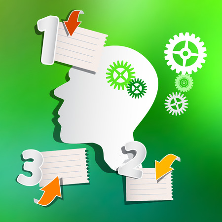 paper sheets: Abstract Infographic Layout with Paper Head, Cogs, Paper Sheets and Arrows on Green Blurred Background