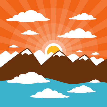 Nature Abstract Mountains Illustration with Clouds, Sun Set - Rise, Pink Sky  Vector