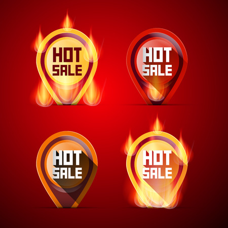 flames of fire: Hot Sale Labels Set in Flames - Fire