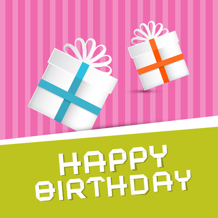 Retro Happy Birthday Theme, Present Boxes on Colorful Recycled Paper Background  Vector