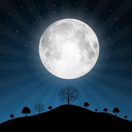 noche y luna: Vector Luna Llena Ilustraci�n con las estrellas y los �rboles