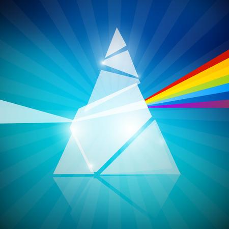 Prism Spectrum Illustration on Blue Background Vector