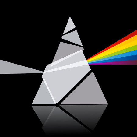 Prism Spectrum Illustration on Black Background Vector