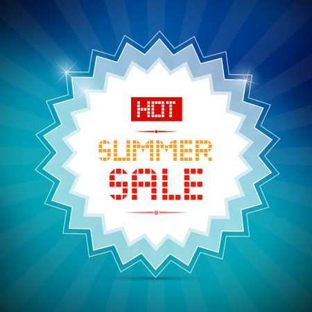 starr: Hot Summer Sale Title on Vector Blue Background