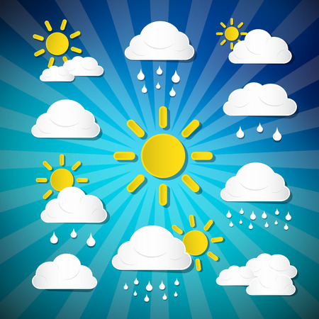 Vector Weather Icons - Clouds, Sun, Rain on Retro Blue Background Vector