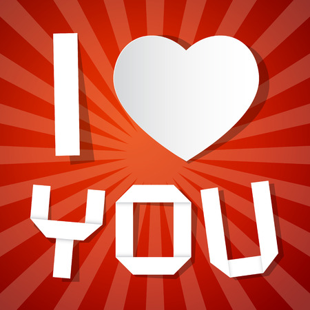I Love You Title and Paper Heart on Red Background Vector