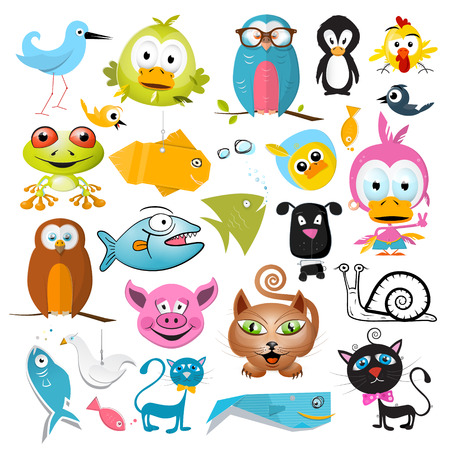 Vector Animals Set Isolated on White Background Vector