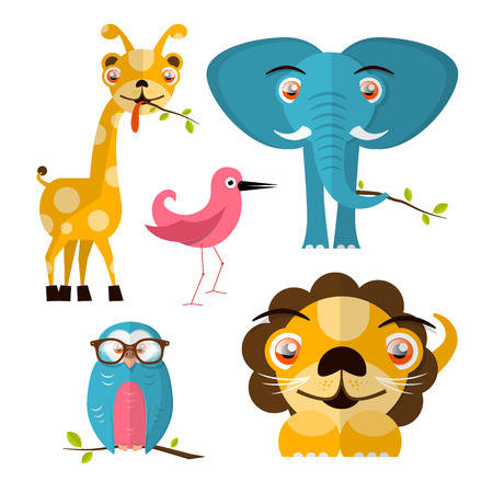 Vector Animals Illustration - Giraffe Owl Bird Lion and Elephant Vector