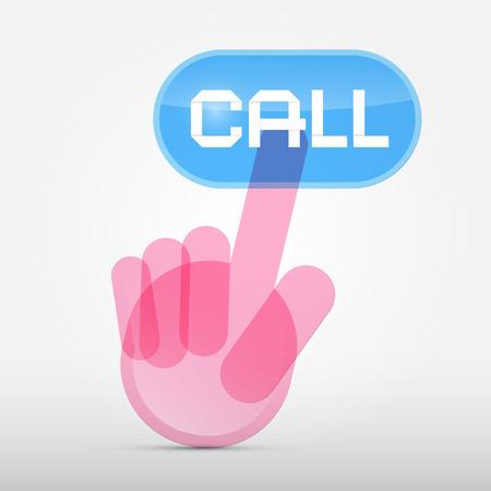 Social Media Symbol - Hand Icon Pushing Transparent Call Button Vector