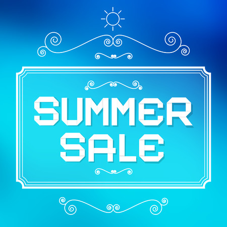 Summer Sale Paper Title on Abstract Blue Background with Vintage Elements Vector