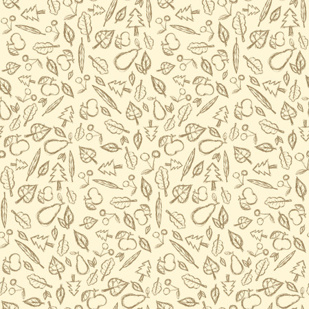 Abstract Vector Retro Seamless Pattern with Fruit and Leaves Vector