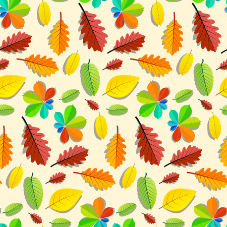 water chestnut: Colorful Vector Seamless Leaves Pattern Illustration