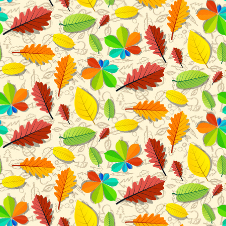 water chestnut: Colorful Vector Seamless Leaves Pattern with Hand Drawn Fruit Background