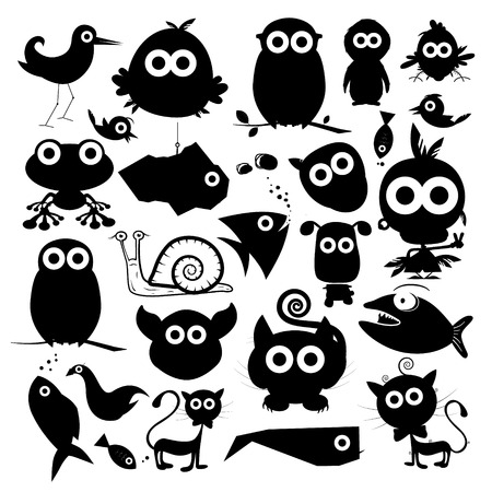 Black Vector Animals Silhouette Set Ilustracja