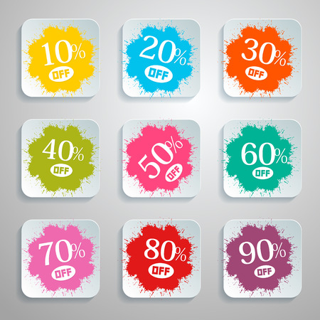 Discount Vector Splash - Paper Labels Set Vector