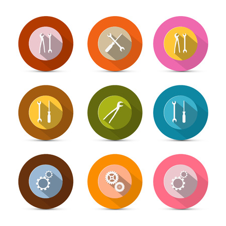 Circle Tools Vector Icons Isolated on White Background Vector