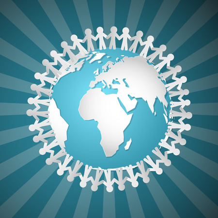Vector People Holding Hands Around Globe Stock fotó - 27165047