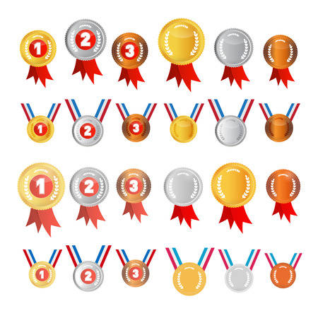 Vector Medals Set: Gold, Silver, Bronze, First, Second, Third Vector