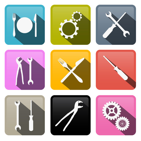 hand wrench: Retro Vector Buttons: Cogs, Gears, Screwdriver, Pincers, Spanner, Hand Wrench Tools, Knife, Fork  Illustration