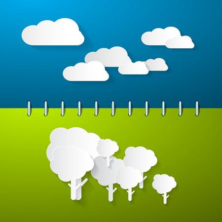 sumer: Paper Clouds and Trees on Blue - Green Notebook Background