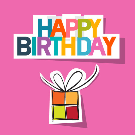 present box: Happy Birthday Card. Present Box Cut From Paper on Pink Background