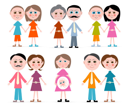 Vector Family Members Set Illustration Isolated on white Background Vector