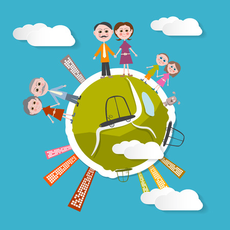 Vector People on Green Globe Illustration with Blue Sky Background Vector