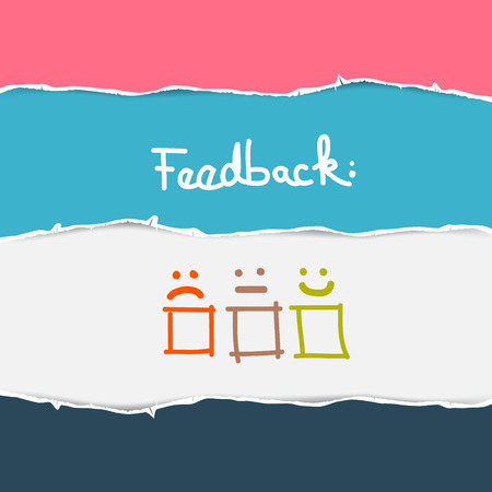 feedback: Vector Retro Torn Paper Feedback Background Illustration