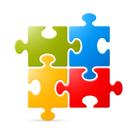 Colorful Puzzle Vector Illustration on White Background Vector
