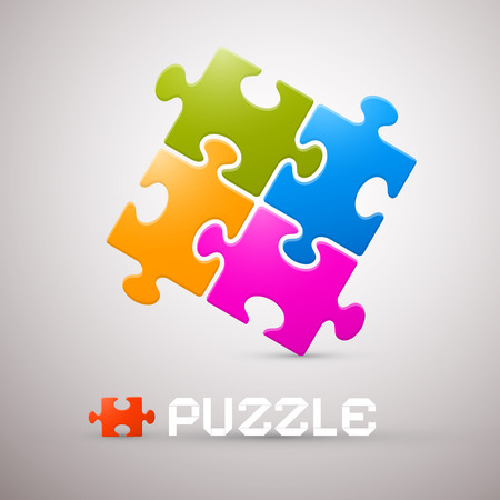Colorful Puzzle Vector Illustration on Grey Background Vector