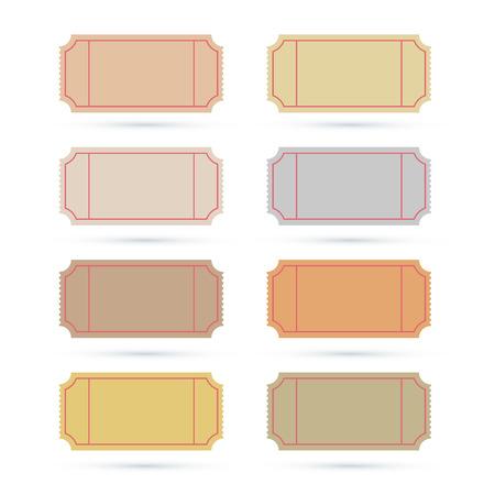 Vector Illustration Set Ticket isoliert auf weißem Hintergrund