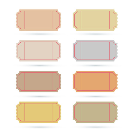 circus ticket: Vector Ticket Set Illustration Isolated on White Background