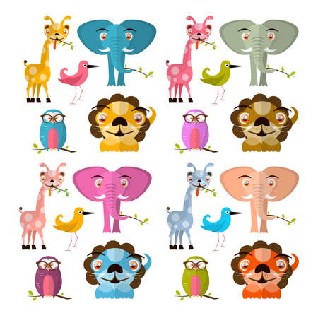 Vector Animals Illustration Set - Giraffe Owl Bird Lion and Elephant Vector