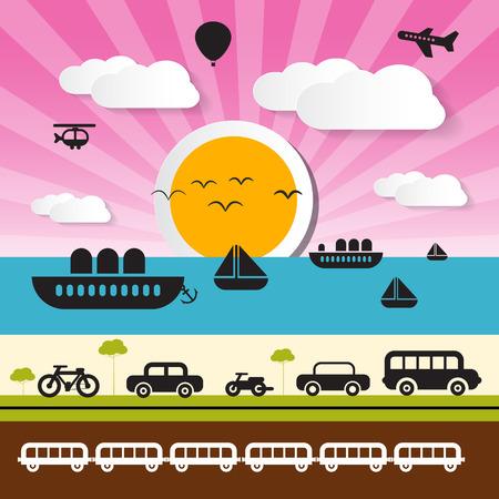air port: Vector Transportation Icons on Landscape Background Illustration