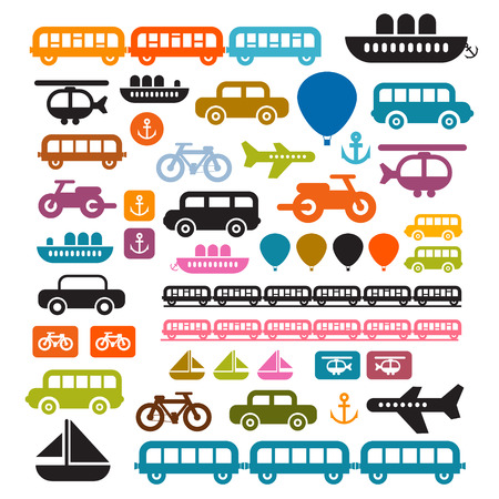 Vector Transportation Icons Isolated on White Background Vector