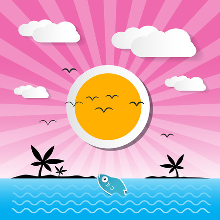 ocean background: Sunset Ocean Background with Sun, Palm, Island, Clouds and Fish