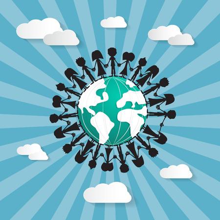 People Holding Hands Around Globe Vector