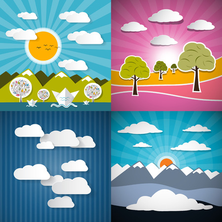 Nature Paper Illustration Set - Mountains, Meadow, Sky and River Vector