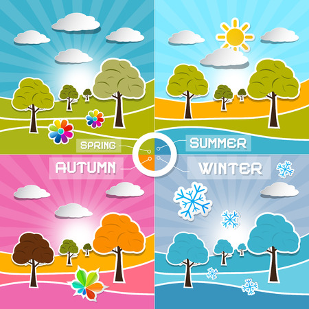 Four Seasons Landscape Backgrounds Vector Illustration Vector