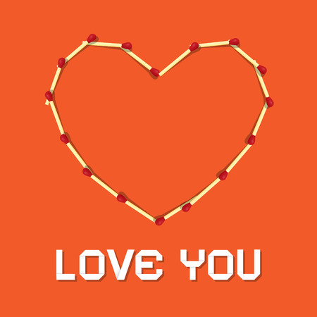 I Love You Theme, Safety Matches Heart on Orange Background  Vector