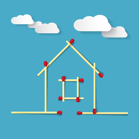House Symbol Made from Matches on Blue Background Vector