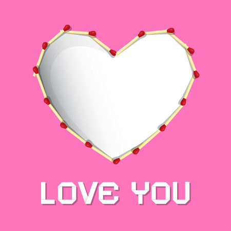 I Love You Theme, Safety Matches Heart on Pink Background  Vector