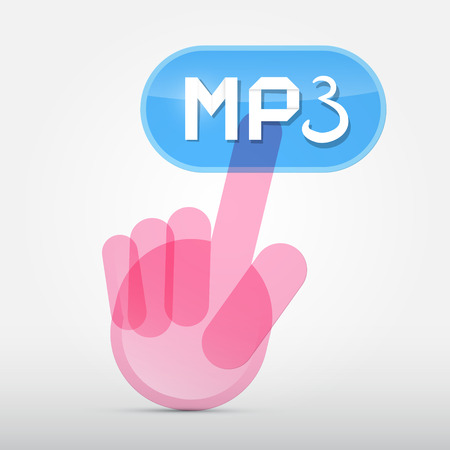 Hand Icon Pushing Transparent mp3 Button Vector