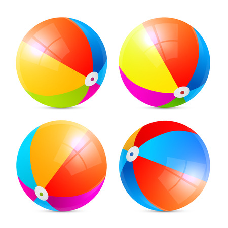 Colorful Vector Beach Balls Set Isolated on White Background Çizim